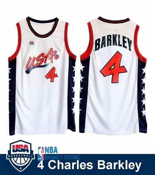 Achat Maillot NBA 1996 USA Charles Barkley NO.4 Blanc