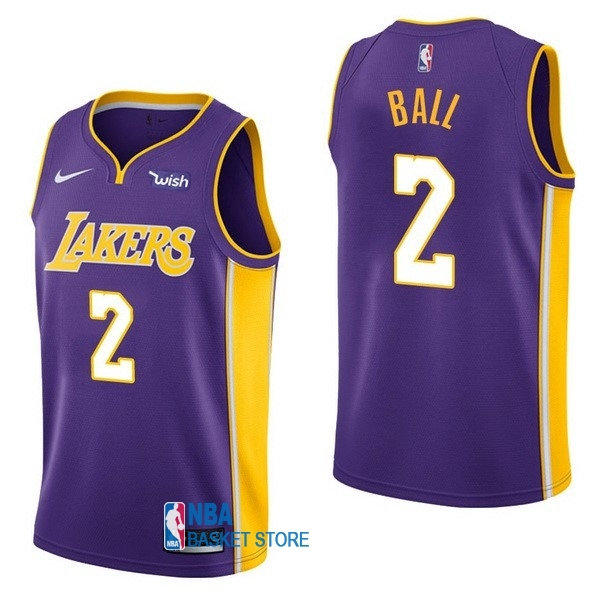 Achat Maillot NBA Enfant Los Angeles Lakers NO.2 Lonzo Ball Pourpre