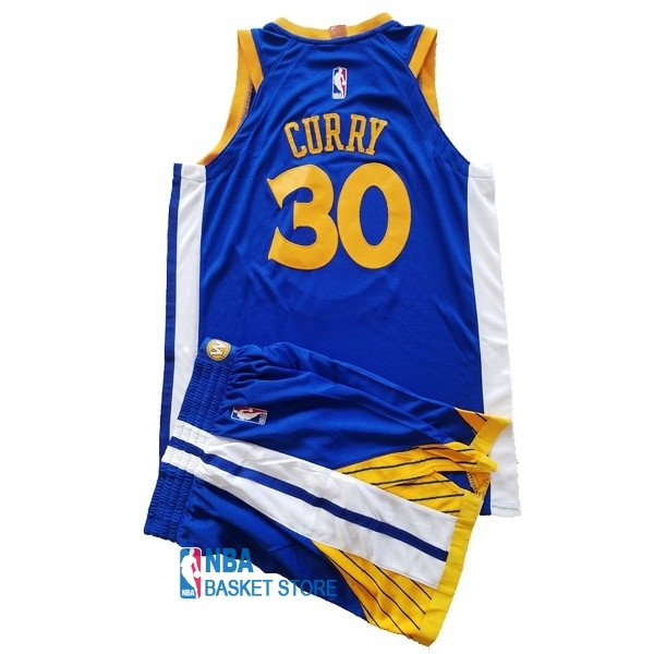 Achat Maillot NBA Ensemble Complet Enfant Golden State Warriors NO.30 Stephen Curry Bleu