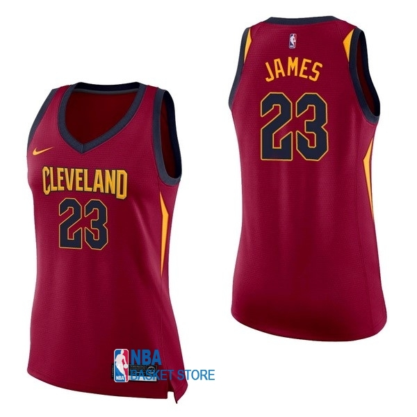 Achat Maillot NBA Femme Cleveland Cavaliers NO.23 LeBron James Rouge Icon