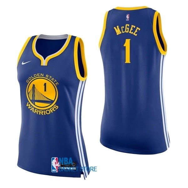 Achat Maillot NBA Femme Golden State Warriors NO.1 JaVale McGee Bleu Icon