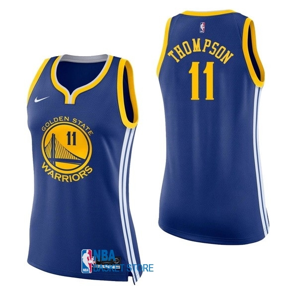 Achat Maillot NBA Femme Golden State Warriors NO.11 Klay Thompson Bleu Icon