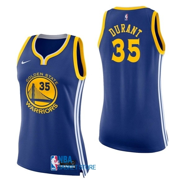 Achat Maillot NBA Femme Golden State Warriors NO.35 Kevin Durant Bleu Icon