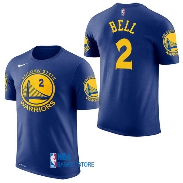 Achat Maillot NBA Nike Golden State Warriors Manche Courte NO.2 Jordan Bell Bleu