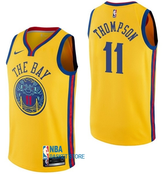 Achat Maillot NBA Nike Golden State Warriors NO.11 Klay Thompson Nike Jaune Ville