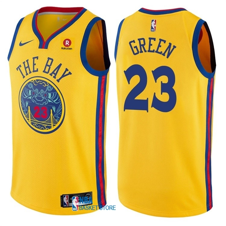 Achat Maillot NBA Nike Golden State Warriors NO.23 Draymond Green Jaune Ville