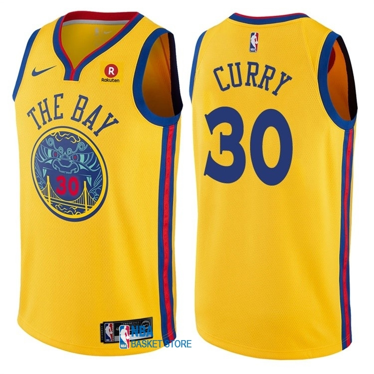 Achat Maillot NBA Nike Golden State Warriors NO.30 Stephen Curry Jaune Ville