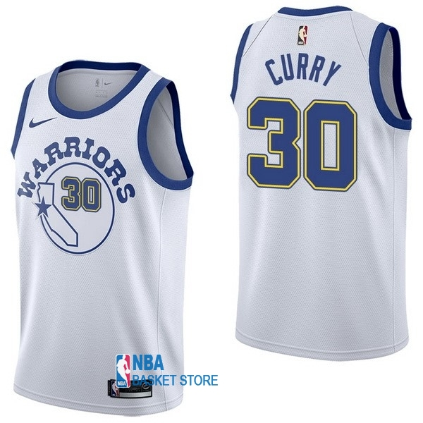 Achat Maillot NBA Nike Golden State Warriors NO.30 Stephen Curry Nike Retro Blanc
