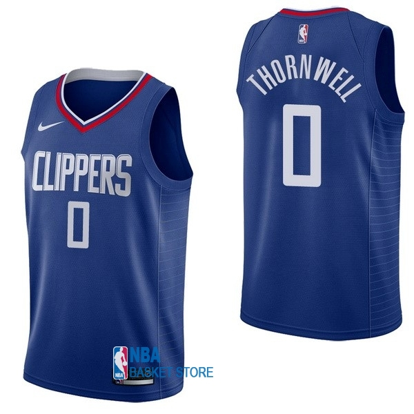 Achat Maillot NBA Nike Los Angeles Clippers NO.0 Sindarius Thornwell Bleu Icon