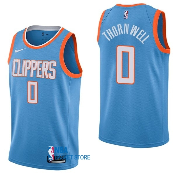 Achat Maillot NBA Nike Los Angeles Clippers NO.0 Sindarius Thornwell Nike Bleu Ville