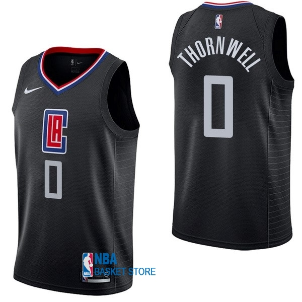 Achat Maillot NBA Nike Los Angeles Clippers NO.0 Sindarius Thornwell Noir Statement