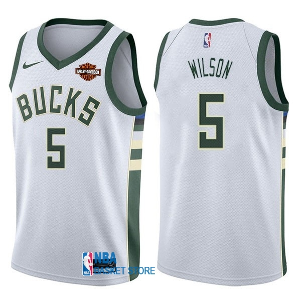 Achat Maillot NBA Nike Milwaukee Bucks NO.5 D.J. Wilson Blanc