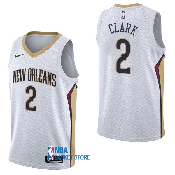 Achat Maillot NBA Nike New Orleans Pelicans NO.2 Ian Clark Blanc Association