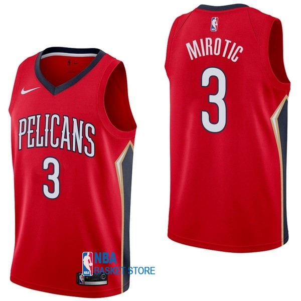 Achat Maillot NBA Nike New Orleans Pelicans NO.3 Nikola Mirotic Rouge Statement