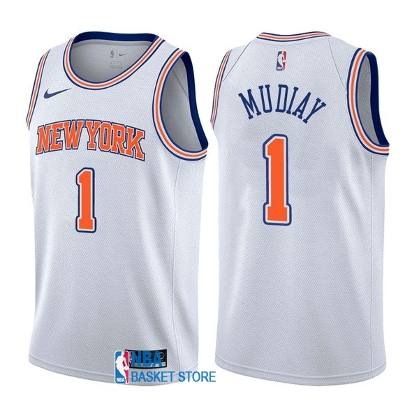 Achat Maillot NBA Nike New York Knicks NO.1 Emmanuel Mudiay Blanc Statement