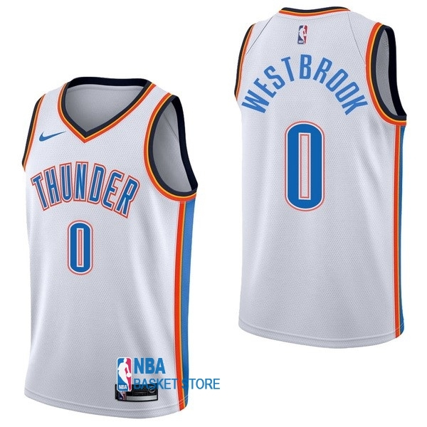 Achat Maillot NBA Nike Oklahoma City Thunder NO.0 Russell Westbrook Blanc Association