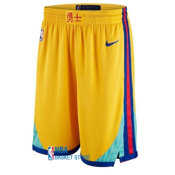 Achat Short Basket Golden State Warriors Jaune Ville