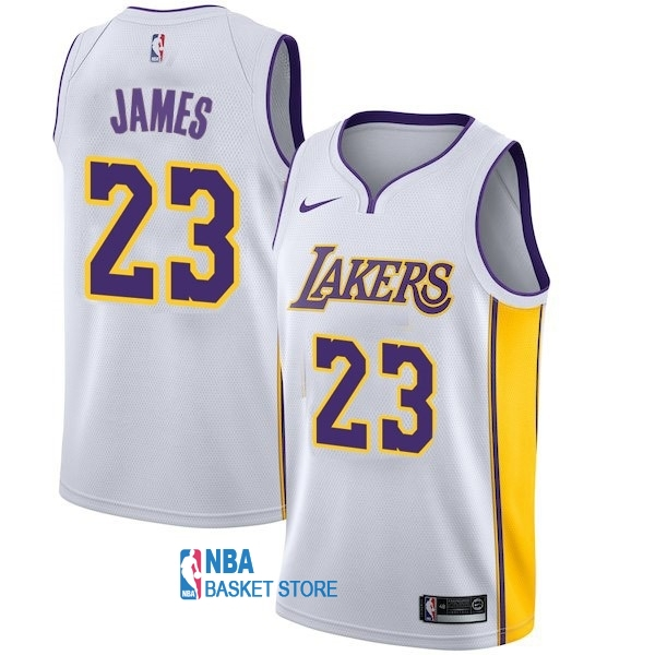 Achat Maillot NBA Enfant Los Angeles Lakers NO.23 LeBron James Blanc Association