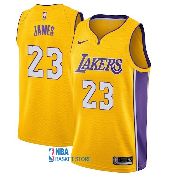 Achat Maillot NBA Enfant Los Angeles Lakers NO.23 LeBron James Jaune Icon