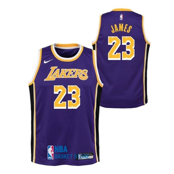 Achat Maillot NBA Enfant Los Angeles Lakers NO.23 Lebron James Pourpre Statement 2018-19