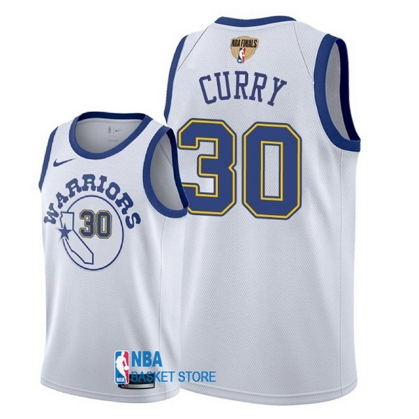 Achat Maillot NBA Golden State Warriors 2018 Final Champions NO.30 Stephen Curry Retro Blanc