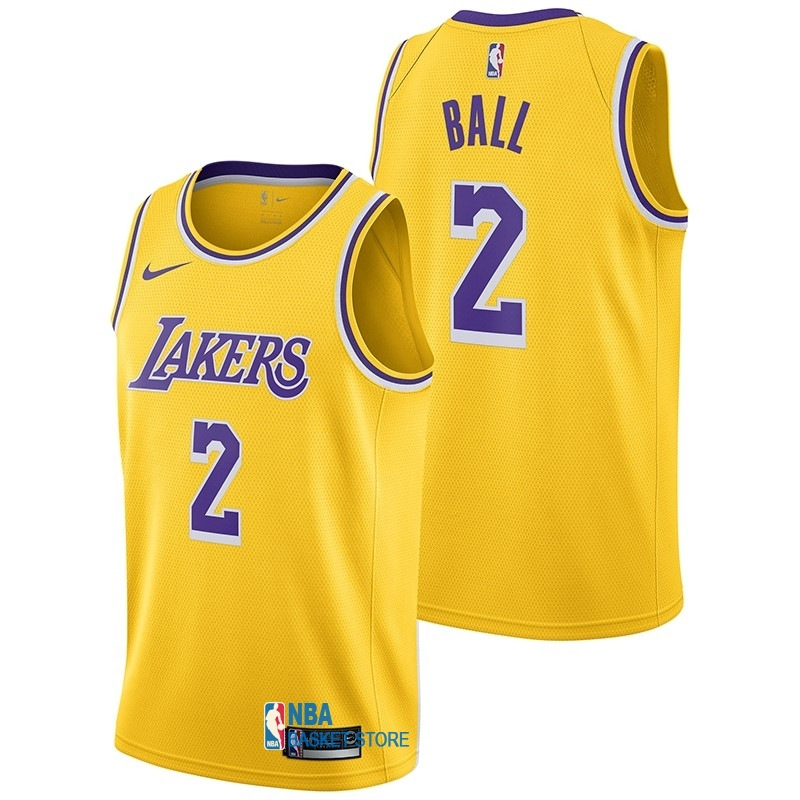 Achat Maillot NBA Nike Los Angeles Lakers NO.2 Lonzo Ball Jaune Icon 2018-19