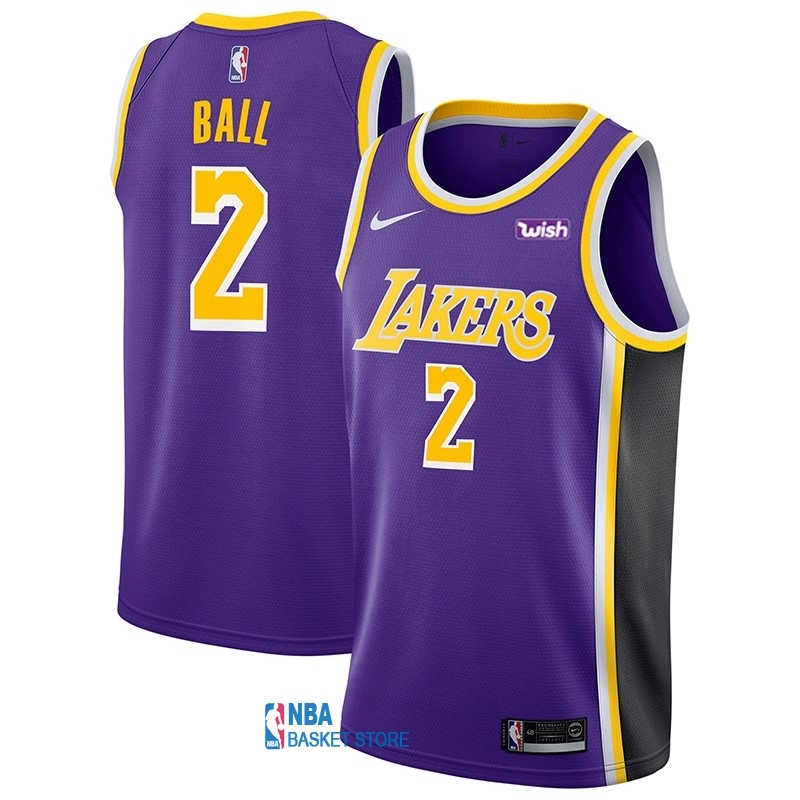 Achat Maillot NBA Nike Los Angeles Lakers NO.2 Lonzo Ball Pourpre 2018-19
