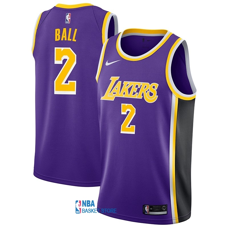 Achat Maillot NBA Nike Los Angeles Lakers NO.2 Lonzo Ball Pourpre Statement 2018-19
