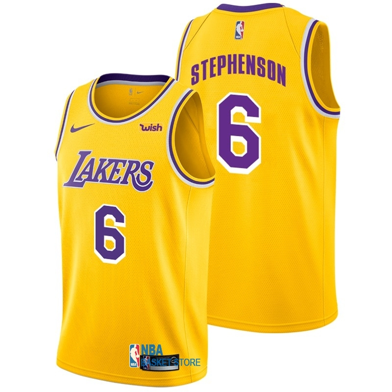 Achat Maillot NBA Nike Los Angeles Lakers NO.6 Lance Stephenson Jaune 2018-19