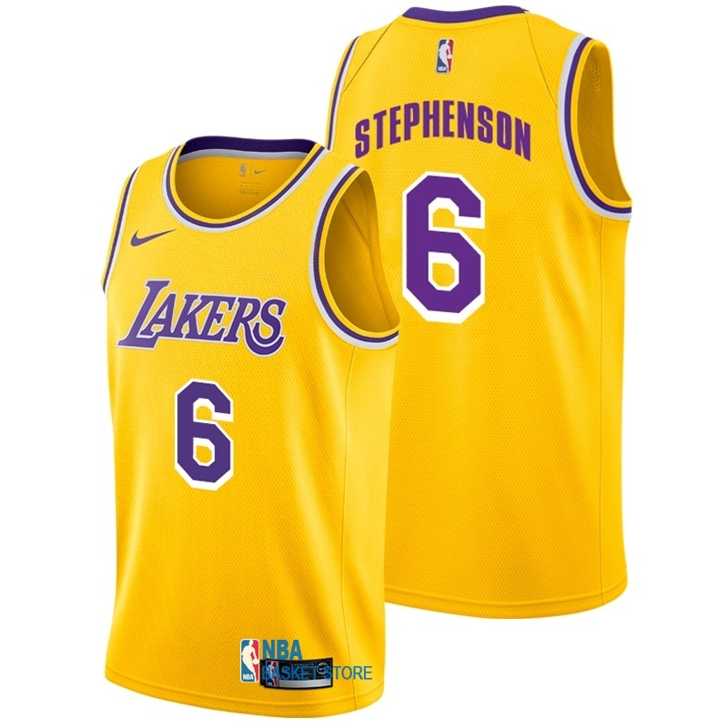 Achat Maillot NBA Nike Los Angeles Lakers NO.6 Lance Stephenson Jaune Icon 2018-19