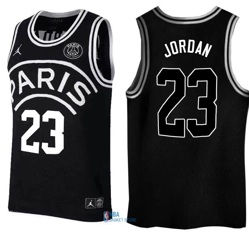 Achat Maillot Collaboration Maillot Basket-ball Jordan x Paris Saint-Germain NO.23 Jordan Noir Logo Blanc