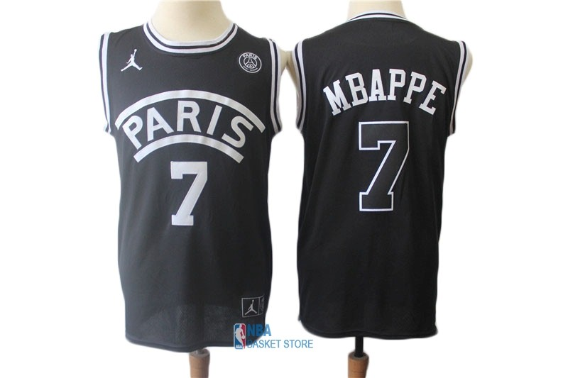 Achat Maillot Collaboration Maillot Basket-ball Jordan x Paris Saint-Germain NO.7 Kylian Mbappe Noir
