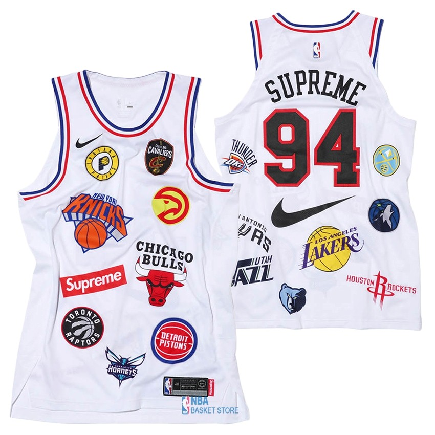 Achat Maillot Collaboration Maillot Basket-ball Supreme x Nike #94 Logo Blanc