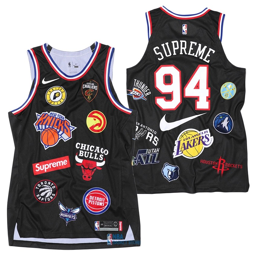 Achat Maillot Collaboration Maillot Basket-ball Supreme x Nike #94 Logo Noir