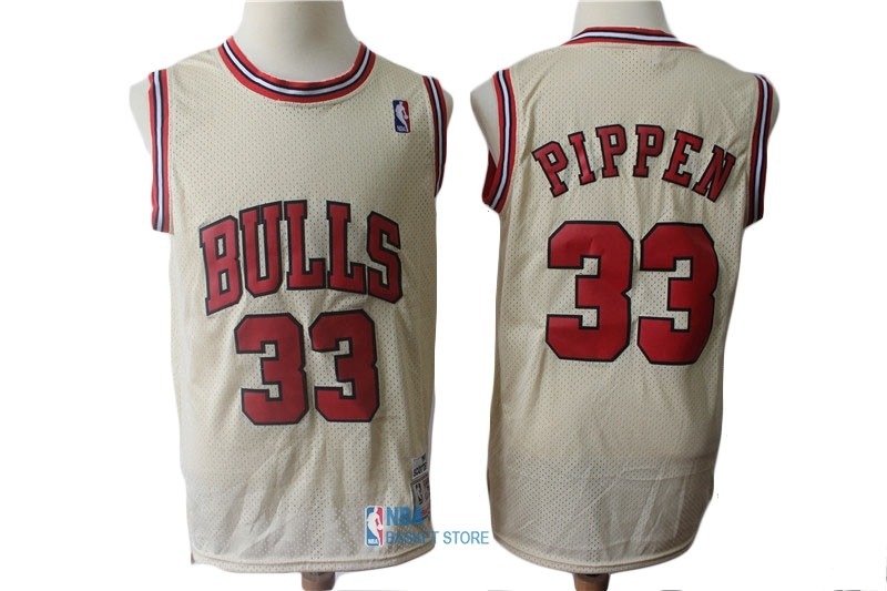 Achat Maillot NBA Chicago Bulls NO.33 Scottie Pippen Retro Crème