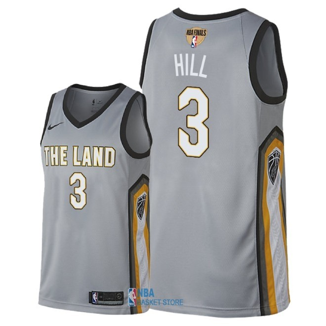 Achat Maillot NBA Cleveland Cavaliers 2018 Final Champions NO.3 George Hill Nike Gris Ville Patch