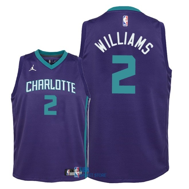 Achat Maillot NBA Enfant Charlotte Hornets NO.2 Marvin Williams Pourpre Statement 2018