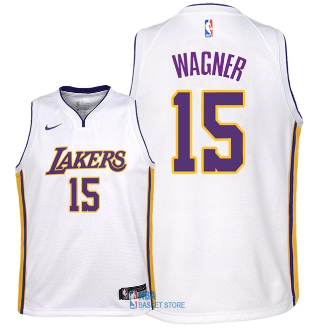 Achat Maillot NBA Enfant Los Angeles Lakers NO.15 Moritz Wagner Blanc Association 2018