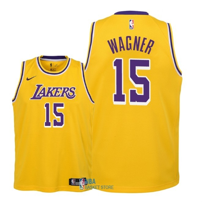 Achat Maillot NBA Enfant Los Angeles Lakers NO.15 Moritz Wagner Jaune Icon 2018-19