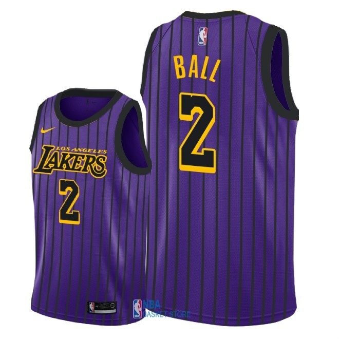 Achat Maillot NBA Enfant Los Angeles Lakers NO.2 Lonzo Ball Nike Pourpre Ville 2018-19