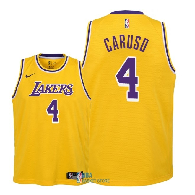 Achat Maillot NBA Enfant Los Angeles Lakers NO.4 Alex Caruso Jaune Icon 2018-19