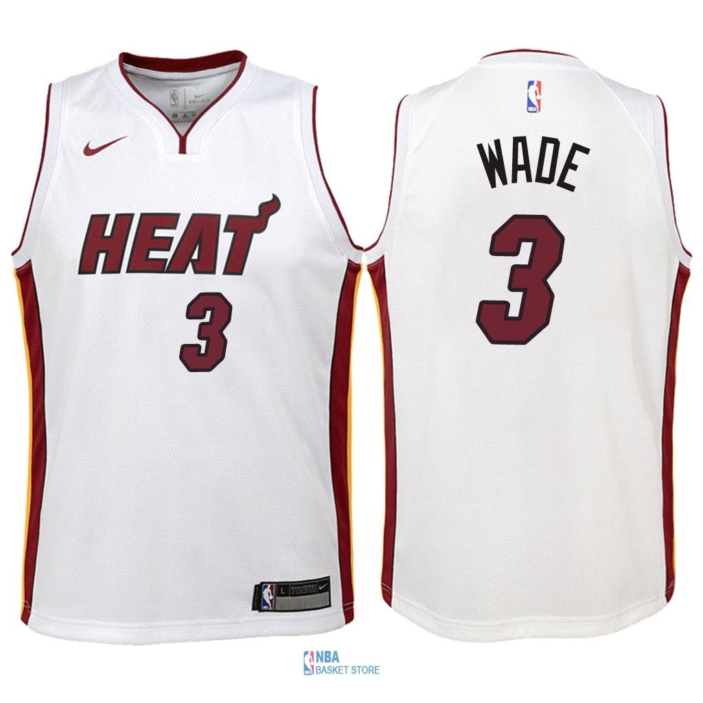 Achat Maillot NBA Enfant Miami Heat NO.3 Dwyane Wade Blanc Association 2018