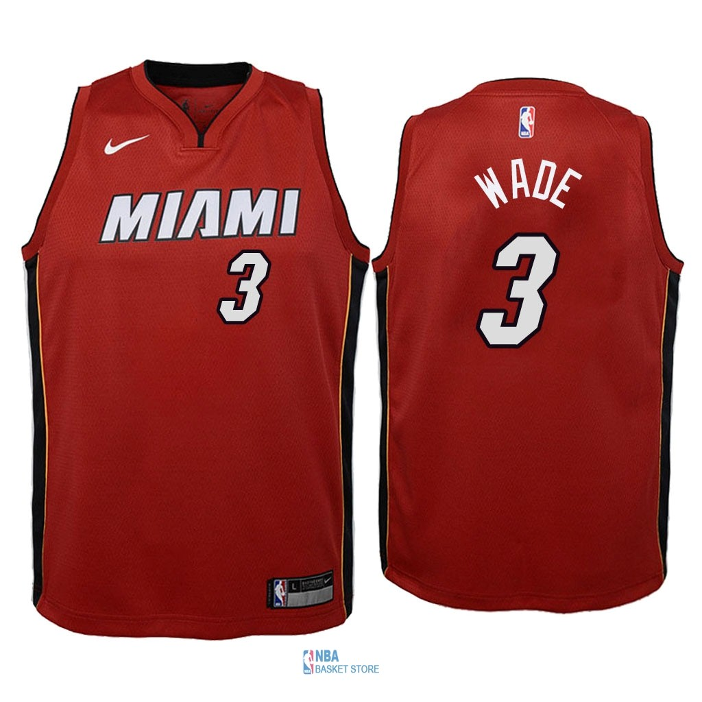 Achat Maillot NBA Enfant Miami Heat NO.3 Dwyane Wade Rouge Statement 2018