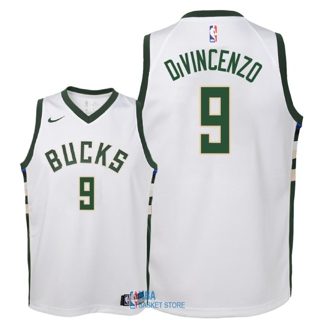 Achat Maillot NBA Enfant Milwaukee Bucks NO.9 Donte DiVincenzo Blanc Association 2018