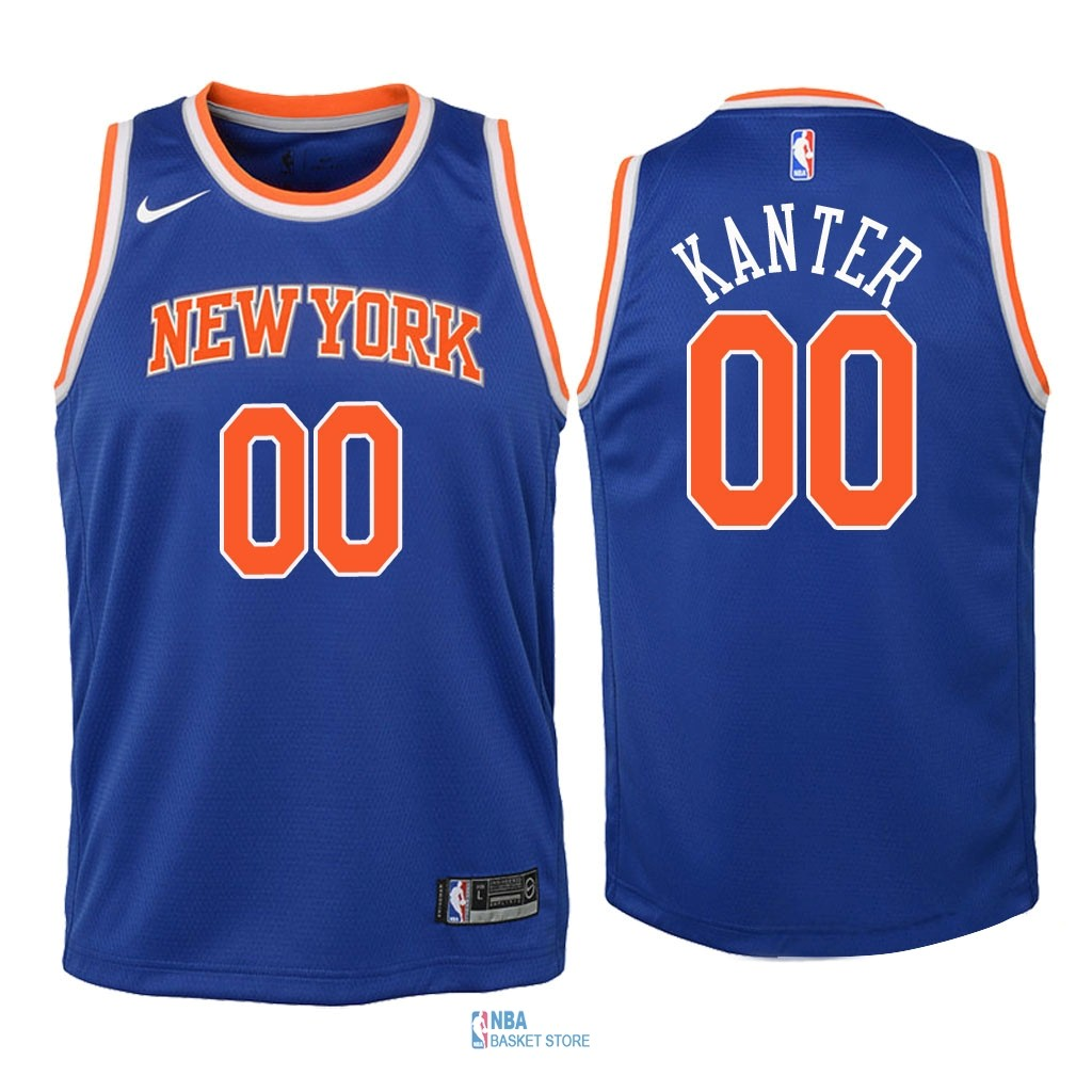 Achat Maillot NBA Enfant New York Knicks NO.0 Enes Kanter Bleu Icon 2018