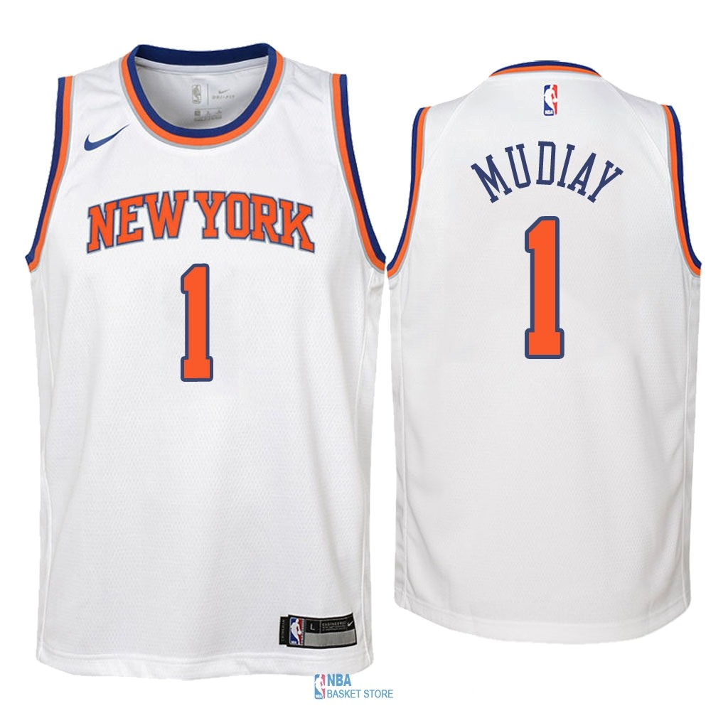 Achat Maillot NBA Enfant New York Knicks NO.1 Emmanuel Mudiay Blanc Association 2018