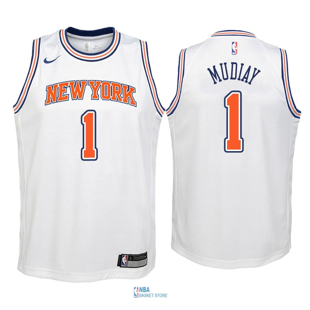 Achat Maillot NBA Enfant New York Knicks NO.1 Emmanuel Mudiay Blanc Statement 2018