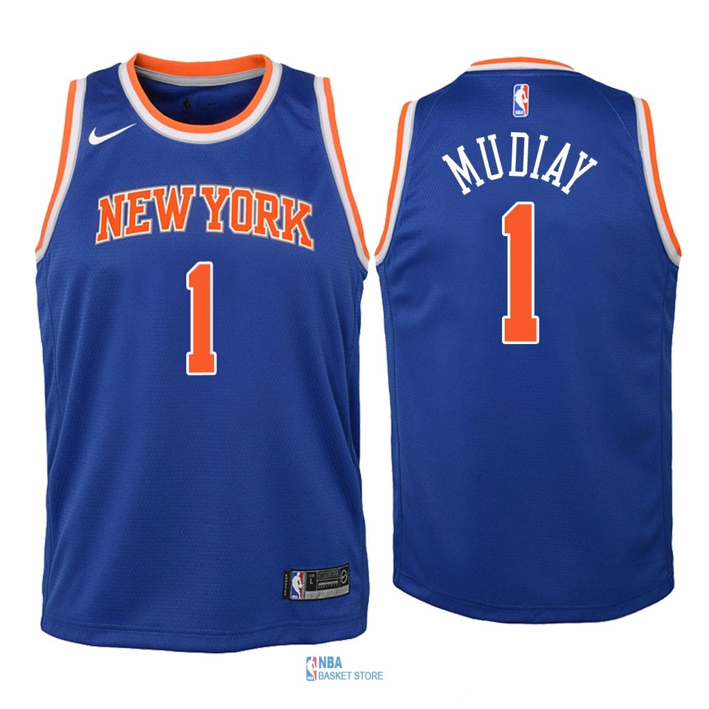 Achat Maillot NBA Enfant New York Knicks NO.1 Emmanuel Mudiay Bleu Icon 2018