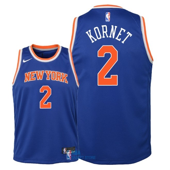 Achat Maillot NBA Enfant New York Knicks NO.2 Luke Kornet Bleu Icon 2018