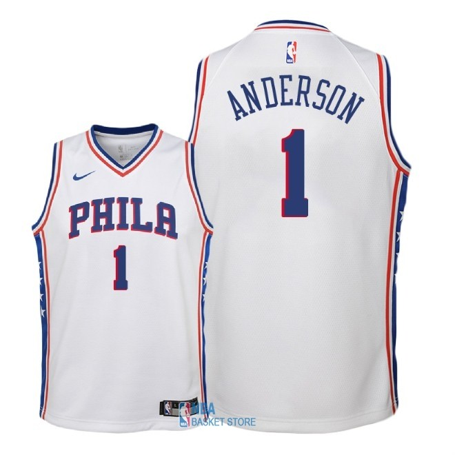 Achat Maillot NBA Enfant Philadelphia Sixers NO.1 Justin Anderson Blanc Association 2018